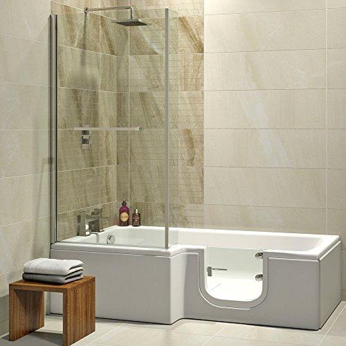 badewanne mit t r seniorenbadewanne 170x85 70x53cm mit duschkabine wannensch rze und ablauf. Black Bedroom Furniture Sets. Home Design Ideas