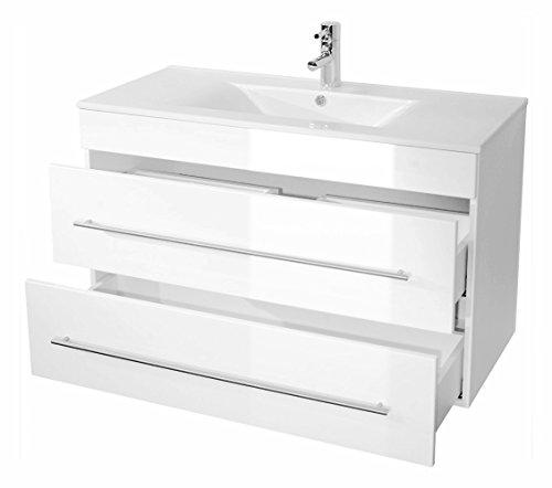 Badmöbel hochglanz weiß | badzubehör hochglanz schrank