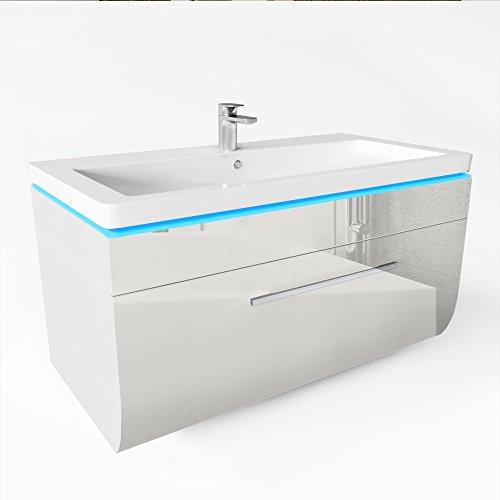 LED weißer Waschtisch | LED Badmöbel | Weiß hochglanz Waschtisch