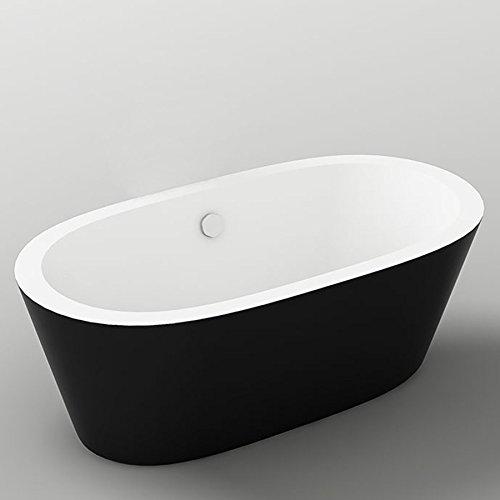 Jet-Line Design Badewanne Maggiore freistehend ovale Standbadewanne freistehend in schwarz exklusives Design von Jet-Line hochwertiges Acryl moderne Optik schwarz wei/ß