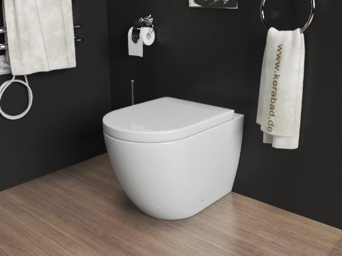 Design Stand-WC Toilette WC-Schüssel inklusive WC Sitz mit Absenkautomatik  aus Duroplast KB76B