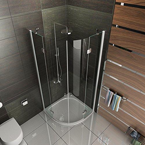 duschabtrennung echtglas viertelkreis dusche easyclean glas duschkabine wannenma 90x90x195 inkl. Black Bedroom Furniture Sets. Home Design Ideas