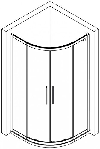 duschkabine 90x90 links runddusche 900x900x2000 mm lxbxh. Black Bedroom Furniture Sets. Home Design Ideas