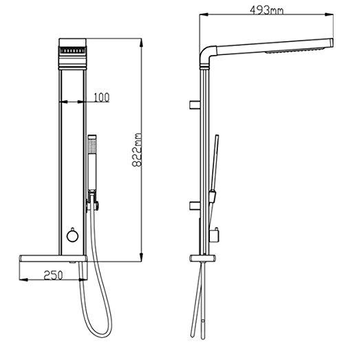 duschpaneel brausepaneel duschs ule duschsystem komplettdusche mit thermostat armatur schwarz. Black Bedroom Furniture Sets. Home Design Ideas