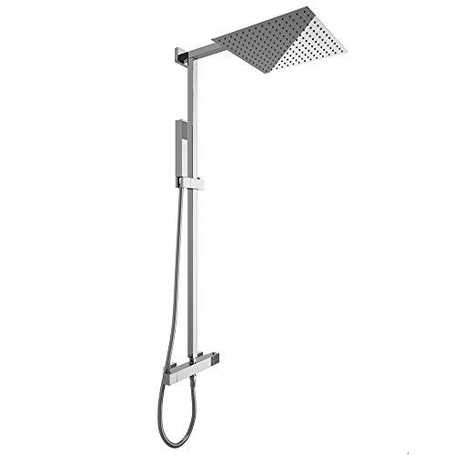 duschset duscharmatur handbrause thermostat duschkopf 30x30 cm regendusche duschpaneel. Black Bedroom Furniture Sets. Home Design Ideas