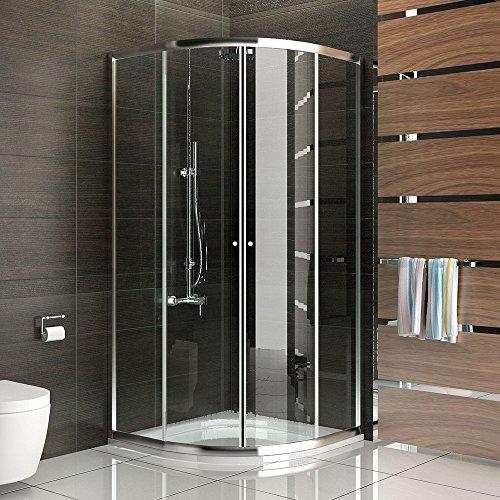 Duschkabine Duschabtrennung mit Rahmen Viertelkreis Dusche 80x80 x190 cm  Schiebetür aus Sicherheitsglas Trennwand Duschwand