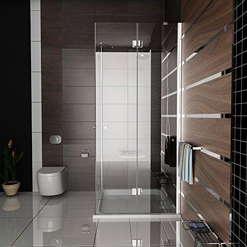 eck dusche rahmenlose glas duschkabine duschabtrennung wannenma 100x90x195 mit antikalk easy. Black Bedroom Furniture Sets. Home Design Ideas