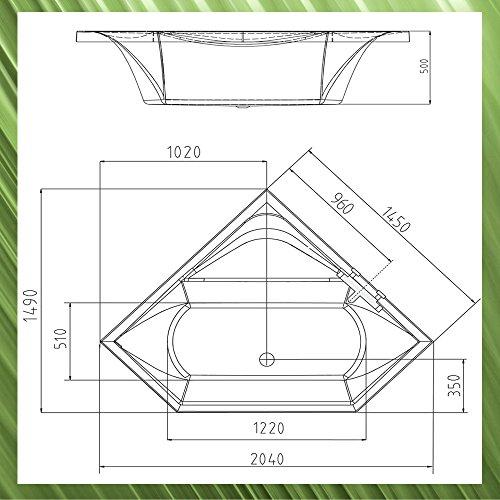 eckbadewanne floss 145x145cm 50cm tief mit sch rze ablaufgarnitur und wannenf en. Black Bedroom Furniture Sets. Home Design Ideas