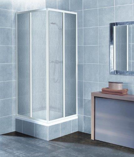 eckeinstieg duschkabine kunststoffglas tropfendekor weisse profile 75x75 75x80 75x90 90x75 80x75. Black Bedroom Furniture Sets. Home Design Ideas