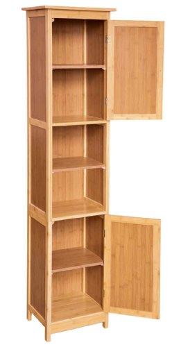 Hochschrank badezimmerschrank mit regalf chern ablagen aus bambus 2 t rig ca 33x30x160 cm - Badezimmerschrank bambus ...
