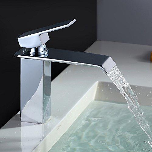 Homelody Chrom Wasserhahn Bad Wasserfall Waschtischarmatur Armatur