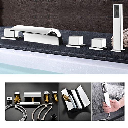 kinse 5 loch einhebel wannenrandarmatur badewanne wasserfall einhebel wasserhahn armatur mit. Black Bedroom Furniture Sets. Home Design Ideas
