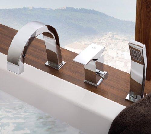 Moderne eckige Designer 3-Loch Wannenarmatur Badewannen Wannenrand Armatur