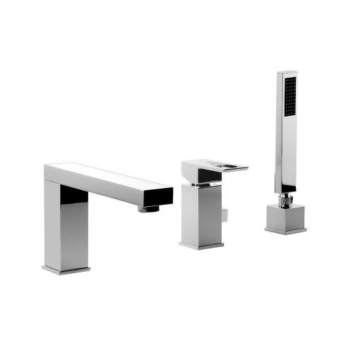 komplettset 3 loch designer wannenrandarmatur und montageblock 3 loch armatur wannenarmatur. Black Bedroom Furniture Sets. Home Design Ideas