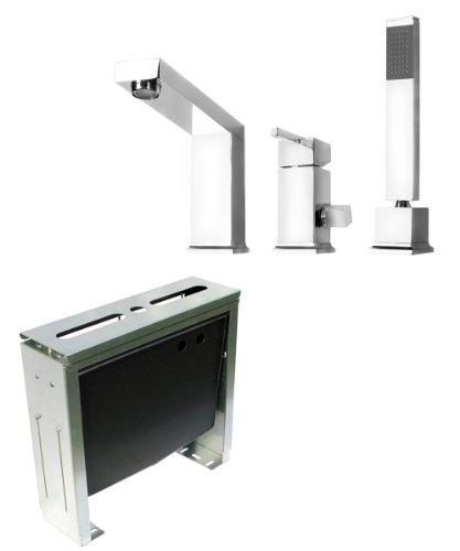 komplettset 3 loch designer wannenrandarmatur und montageblock 3 loch armatur wannenarmatur von. Black Bedroom Furniture Sets. Home Design Ideas