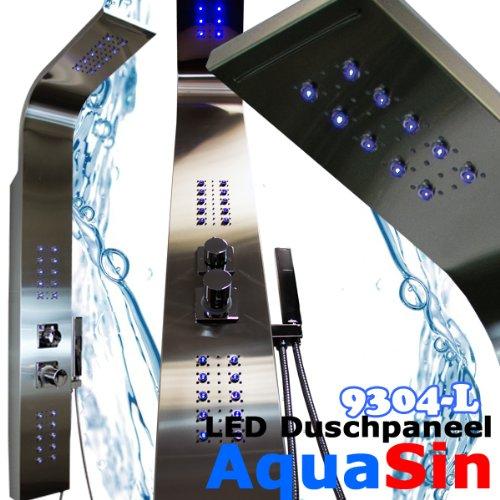 led beleuchtetes edelstahl duschpaneel aquasin 9304 l mit kombi regen wasserfall. Black Bedroom Furniture Sets. Home Design Ideas
