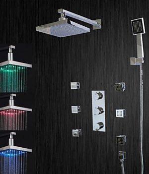 LED Chrom Dusche mit Seitenbrausen