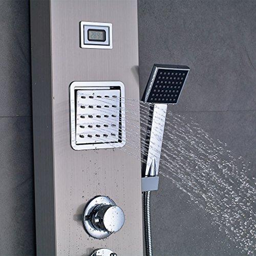 obeeonr thermostat brausegarnitur set duschpaneel regendusche mit lcd display wassertemperatur. Black Bedroom Furniture Sets. Home Design Ideas