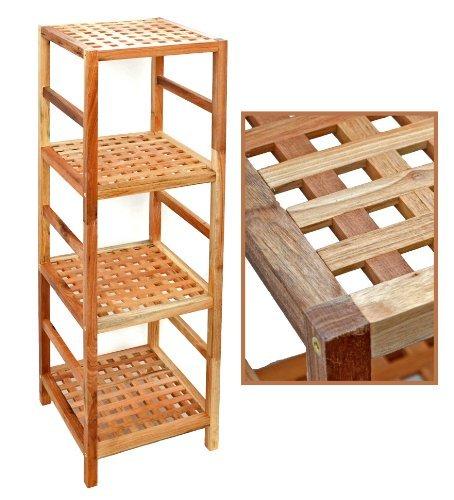 regal standregal hochregal 117 cm aus walnuss massivholz f r bad wohnzimmer sauna flur diele. Black Bedroom Furniture Sets. Home Design Ideas