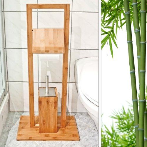 Sehr Relaxdays WC Garnitur aus Bambus H x B x T: ca. 82 x 36 x 21 cm RT77