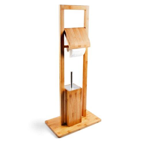 WC Garnitur Bambus | Standgarnitur mit  Toilettenbürste und Toilettenpapierhalter