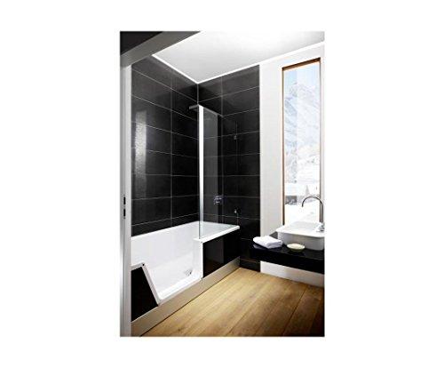 repabad easy in m badewanne mit t r und dusche 170 cm weiss nische links front glas coffee. Black Bedroom Furniture Sets. Home Design Ideas