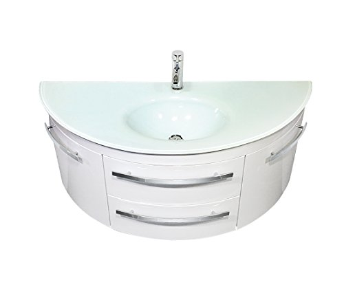 Designer Badset | Abgerundeter Waschplatz | Runder Waschtisch mit Fächern | moderne badarmatur