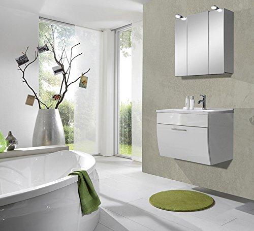 SAM® Design Badezimmerset 2tlg Santana weiß Beckenauswahl ( mögliche  Varianten: Mineralgussbecken: eckig, rund oder Milchglasbecken: grün, weiß  ) ...