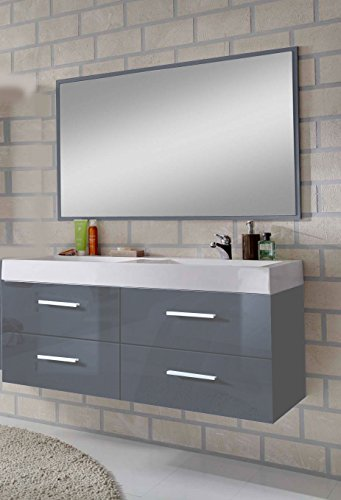Sam design badm bel set hannover 2 teilig hochglanz grau for Badezimmer design hannover