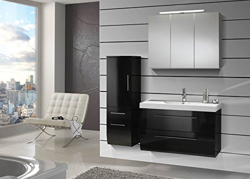 sam design badm bel set z rich in hochglanz schwarz 3 teilig 90 cm beckenauswahl m gliche. Black Bedroom Furniture Sets. Home Design Ideas
