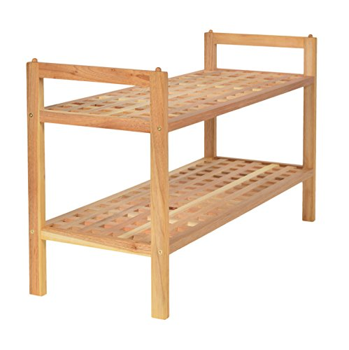 ts-ideen Schuhregal Bad Flur Dielen Küchen Regal Steckregal 69 cm Breite  Walnuss Massiv Holz