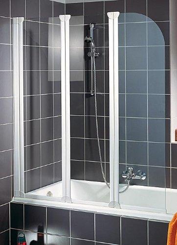 Faltwand | Badewanne Duschabrennung | Badewannenfaltwand  | 140x125 cm echtglas Badewannenfaltwand