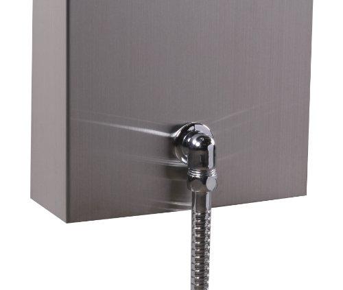wohnling duschpaneel edelstahl design duschs ule 145 cm hoch regendusche 100 massage d sen mit. Black Bedroom Furniture Sets. Home Design Ideas