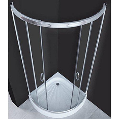 vidaXL Echtglas Duschkabine Dusche Duschabtrennung Glas Kabine Runddusche  80 x 80 cm 1