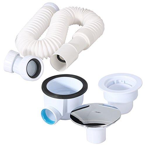 ablaufgarnitur set f r duschtasse duschwanne inkl 90mm siphon ablaufbogen und flexanschluss. Black Bedroom Furniture Sets. Home Design Ideas
