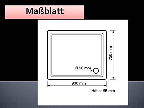 acryl duschwanne 90 x 75 cm flach rechteckig wei dusche duschtasse brausewanne. Black Bedroom Furniture Sets. Home Design Ideas