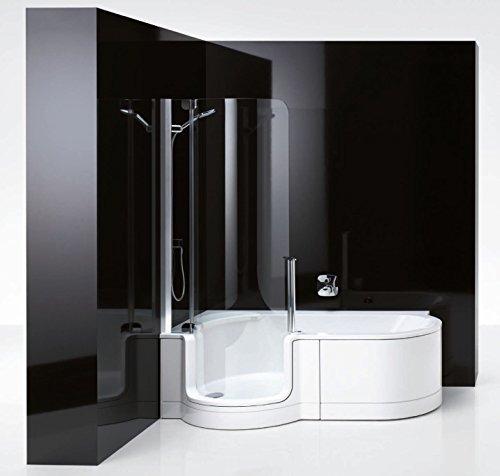 artweger twinline 1 dusch badewanne 180 mit t re rechts sch rze weiss art clean glasbeschichtung. Black Bedroom Furniture Sets. Home Design Ideas