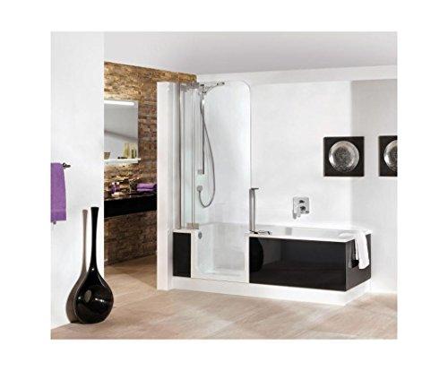 Artweger Twinline 2 Badewanne und Dusche mit Türe mit Glasfront 160 x 75 cm  Duschabtrennung weiss mit Acryl Schürze weiss