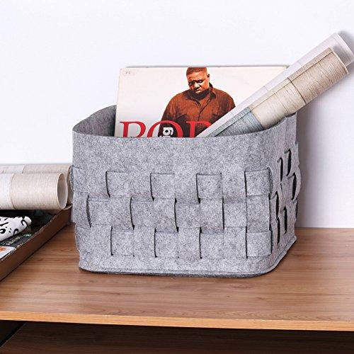 filzkorb aufbewahrungsk rbe grau f r die aufbewahrung von kleider spielzeug oder zeitschriften. Black Bedroom Furniture Sets. Home Design Ideas
