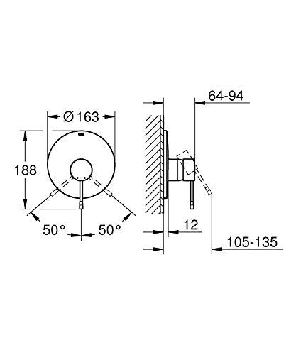 grohe 33636001 essence brausearmatur f r die wandmontage integrierter r ckflussverhinderer. Black Bedroom Furniture Sets. Home Design Ideas