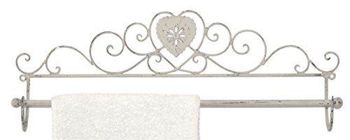 Handtuchhalter in Distressed Grau Metall mit Herz Design Badezimmer oder  Küche Zubehör Shabby Chic Vintage
