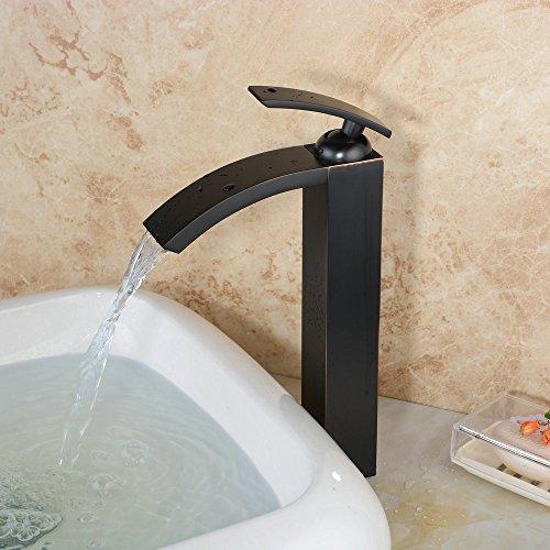 hiendure schwarz einhebel mischbatterie wasserhahn armatur waschtischarmatur wasserfall. Black Bedroom Furniture Sets. Home Design Ideas