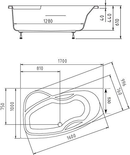 raumspar badewanne maja links 170 x 100 cm komplettset mit acrylsch rze wei zum verkleiden. Black Bedroom Furniture Sets. Home Design Ideas