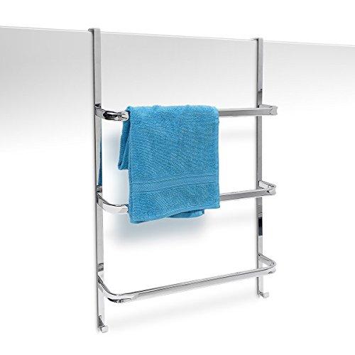 Relaxdays Handtuchhalter mit 3 Handtuchstangen HxBxT: 85 x 54 x 11 cm  Badetuchhalter für alle gebräuchlichen Türen ohne Bohren in Edelstahl-Optik  mit ...