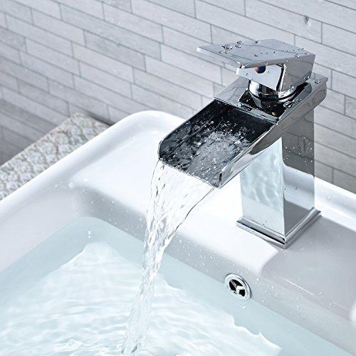 Wasserhahn ICOCO Waschbecken mit Wasserfall Effekt Einhebel Wasserhahn  Küchenarmatur Einhandmischer Spüle Küche