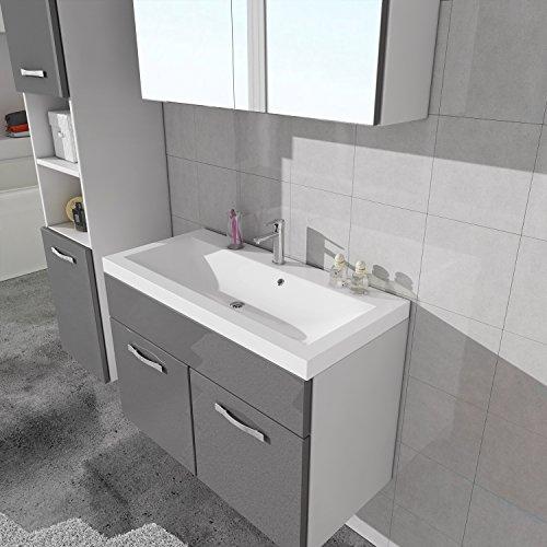 badezimmer badm bel paso led 80 cm waschbecken hochglanz grau fronten unterschrank hochschrank. Black Bedroom Furniture Sets. Home Design Ideas