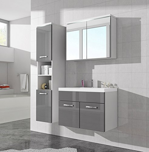 Badezimmer badm bel paso led 80 cm waschbecken hochglanz for Spiegelschrank grau