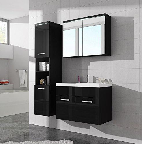 Badezimmer Badmöbel Paso LED 80 cm Waschbecken Hochglanz Weiß ...