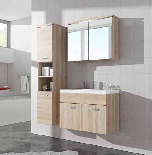 Badezimmer Badmöbel Paso LED 80 cm Waschbecken Sonoma Eiche ...