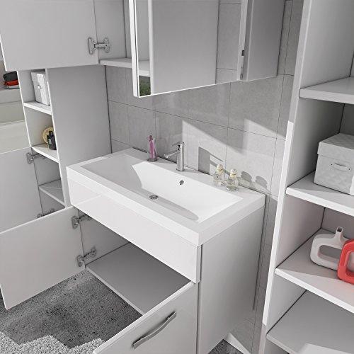 badezimmer badm bel paso xl led 80 cm waschbecken hochglanz wei fronten unterschrank 2x. Black Bedroom Furniture Sets. Home Design Ideas